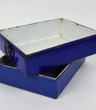 Blue industrial enamel iron draws
