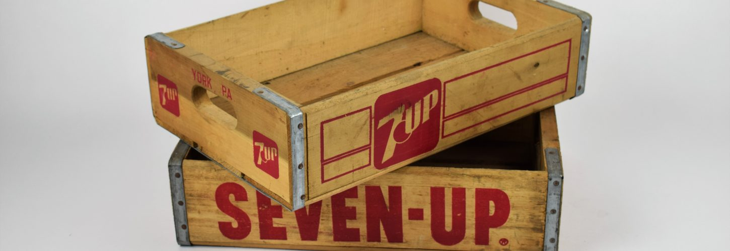 Seven-up wooden soda bottle crate
