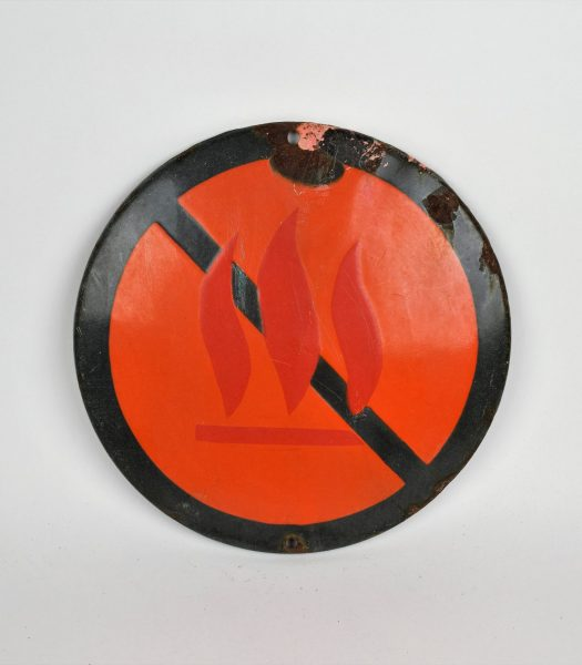 Vintage enamel warning sign