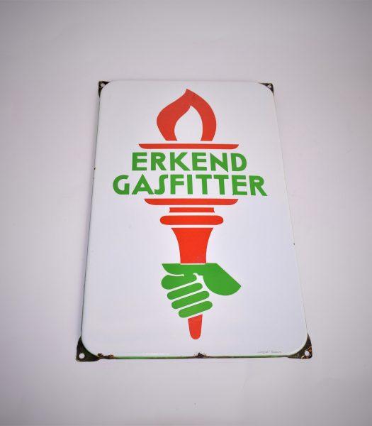 Enamel Erkend Gasfitter sign