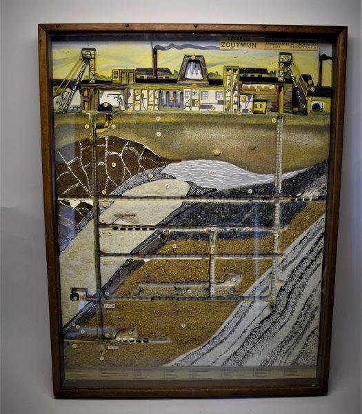 Vintage school showcase of a salt mine