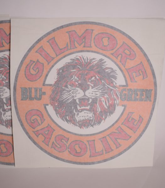 """Vintage """"Gilmore Gasoline"""" gas pump stickers"""